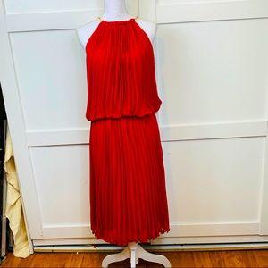 Orange red crop jewel neck dress